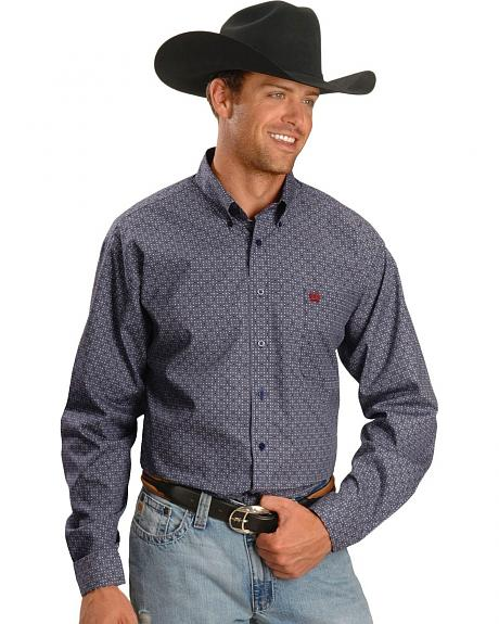 Cinch �  Navy Diamond Print Shirt