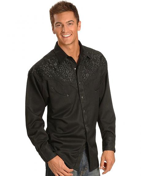 Exclusive Gibson Trading Co. Black Fancy Embroidered Yoke Retro Western Shirt