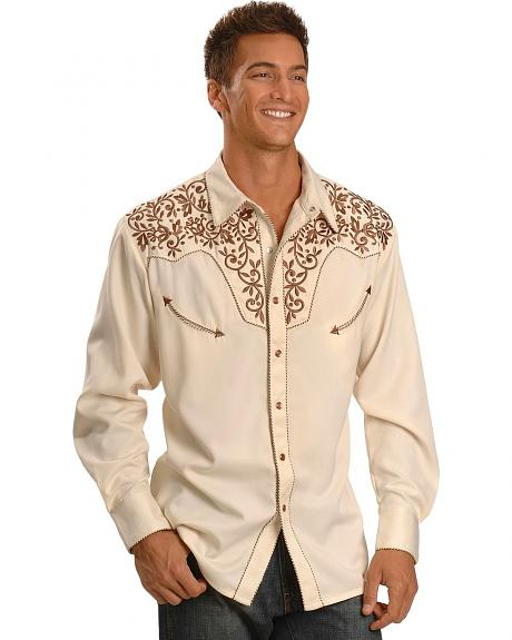Exclusive Gibson Trading Co. Cream Fancy Embroidered Yoke Retro Western Shirt