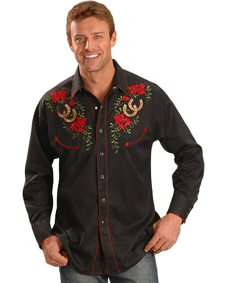 Exclusive Gibson Trading Co. Horseshoe Embroidered Retro Western Shirt