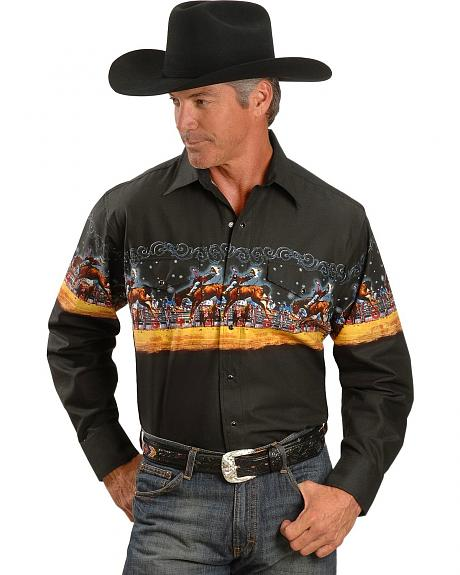 Panhandle Slim Scenic Border Print Shirt