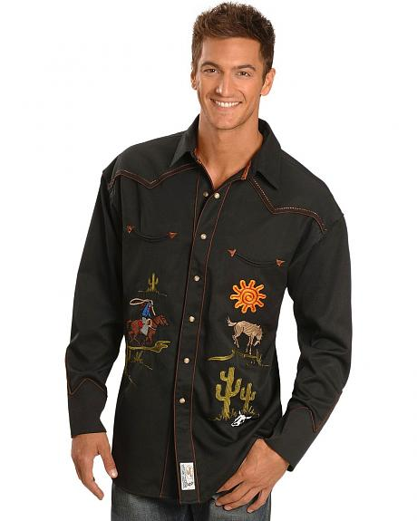 Panhandle Slim Giddy Up Embroidered Retro Western Shirt