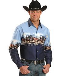 Running Horse Stampede Border Long Sleeve Western Shirt at Sheplers
