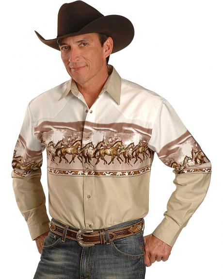 Exclusive Gibson Trading Co. Khaki Horse Stampede Border Shirt