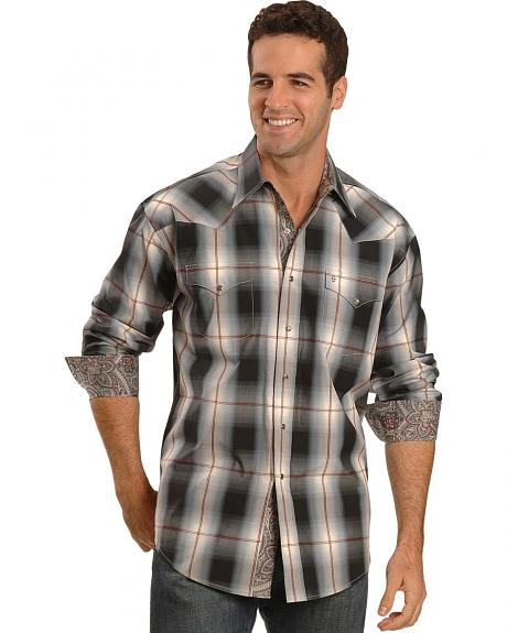 Stetson Black Ombre Plaid Snap Shirt
