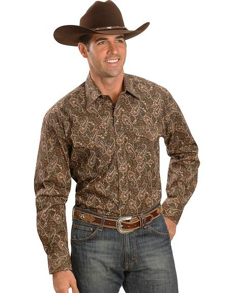 Stetson Brown Paisley Snap Western Shirt