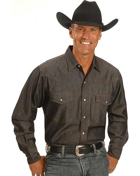 Ely Black Denim Western Shirt