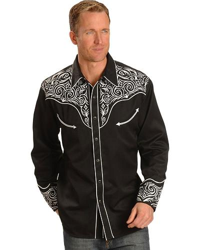 scully stitched yoke retro western shirt