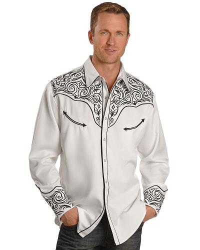 Scully Fancy Full Stitched Retro Western Shirt $90.99 AT vintagedancer.com