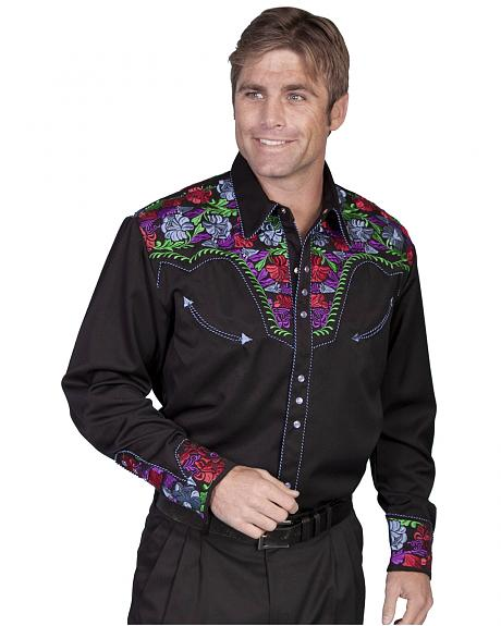 Scully Vibrant Floral Embroidered Retro Western Shirt