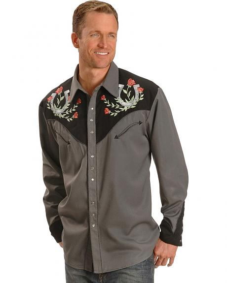 Scully Horseshoe Embroidered Retro Western Shirt