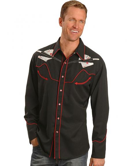 Scully Hold 'Em & Fold 'Em Retro Western Shirt