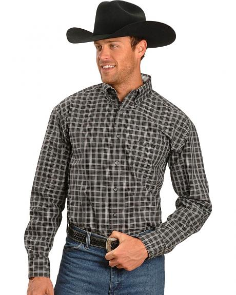 Wrangler George Strait Black & White Dobby Plaid Shirt