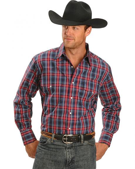 Trevor Brazile Relentless by Wrangler Wrinkle Resistant Red & Blue Plaid Shirt