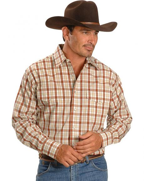 Wrangler Wrinkle Resistant Orange Plaid Shirt
