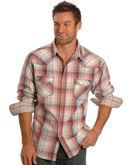 Wrangler 20X Coral & Khaki Plaid Snap Shirt