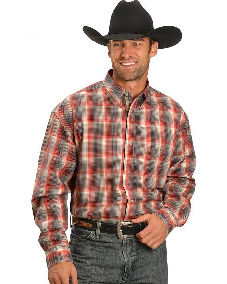 Wrangler 20X Charcoal Poplin Plaid Shirt