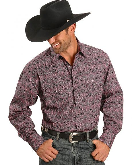 Wrangler Tough Enough To Wear Pink Diamond Print Shirt