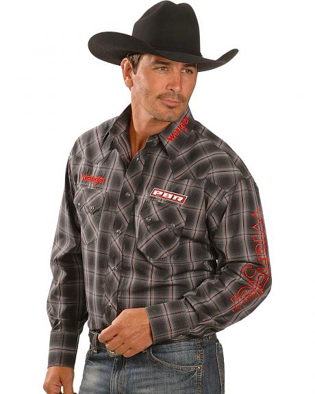 Wrangler Long Sleeve PBR Logo Plaid Shirt
