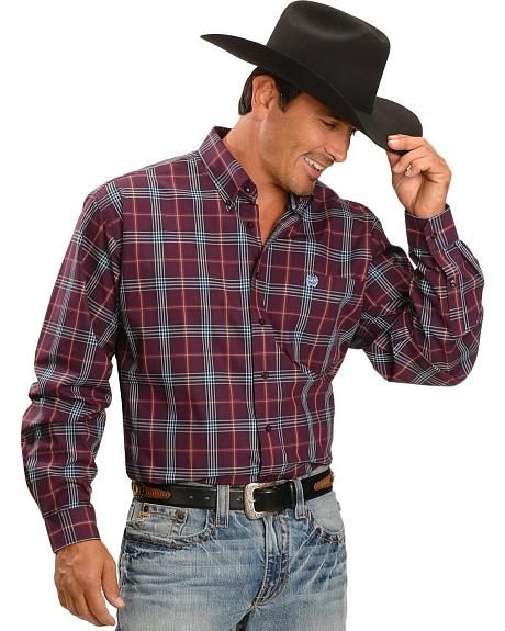 Cinch� Long Sleeve Plaid Weave Shirt