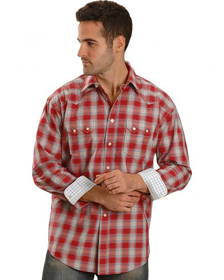 Panhandle Slim Rough Stock Ocala Dobby Plaid Western Shirt