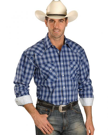 Panhandle Slim Rough Stock Berganz Ombre Plaid Snap Western Shirt