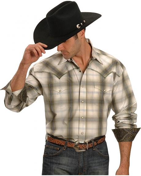 Stetson Hunter's Plaid Long Sleeve Snap Western Shirt