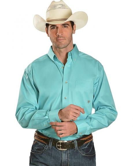 Ariat Turquoise Solid Twill Long Sleeve Shirt