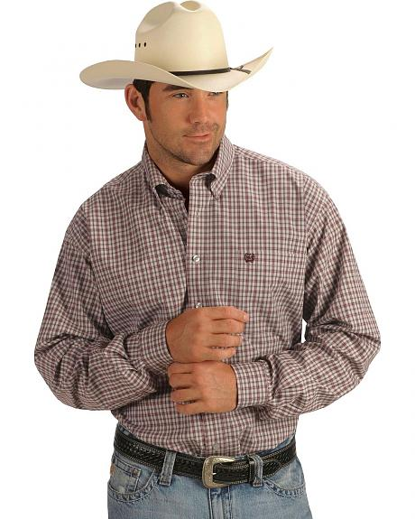 Cinch �  Grey & Burgundy Plaid Shirt