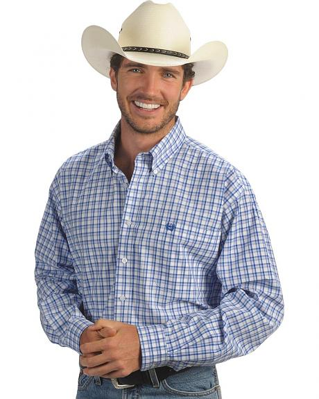 Cinch � White & Blue Plaid Shirt