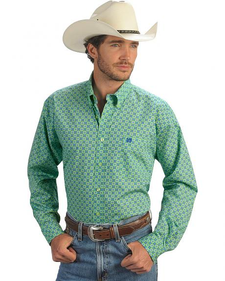 Cinch � Green & Blue Foulard Long Sleeve Shirt
