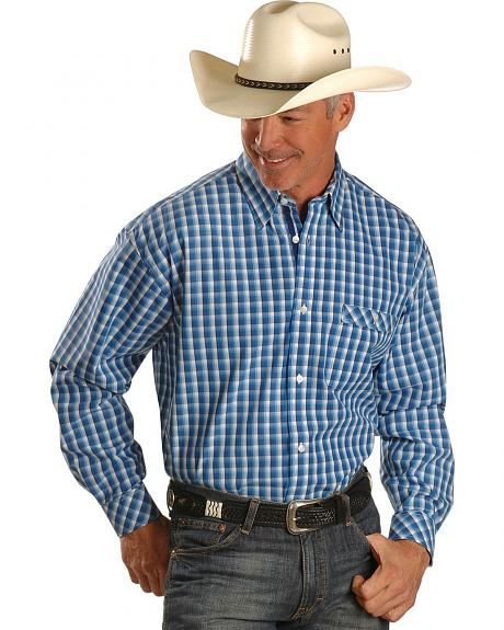 Wrangler 20X Blue & White Poplin Plaid Long Sleeve Shirt