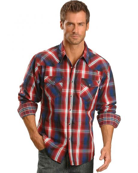 Wrangler 20X Red White & Navy Dobby Plaid Long Sleeve Western Shirt
