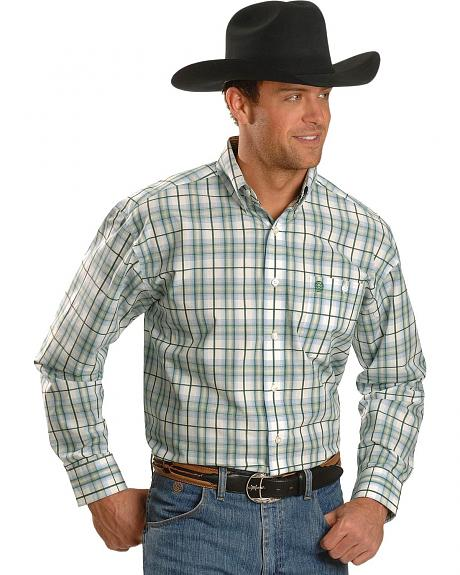 Wrangler George Strait Printed Poplin Plaid Shirt