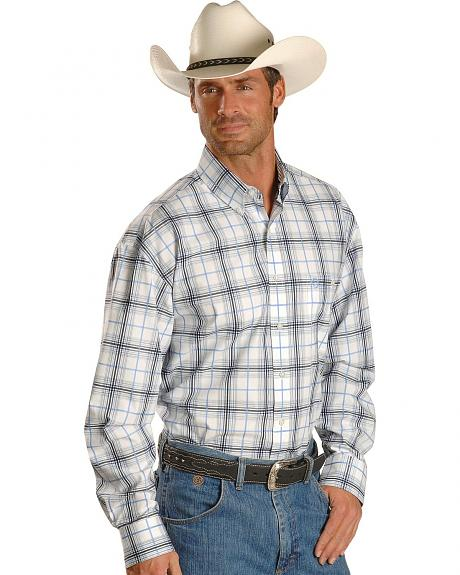 Wrangler George Strait Long Sleeve White & Blue Plaid Shirt