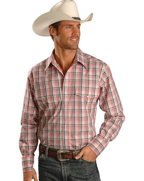 Wrangler Wrinkle Resistant Pink & Black Plaid Long Sleeve Western Shirt