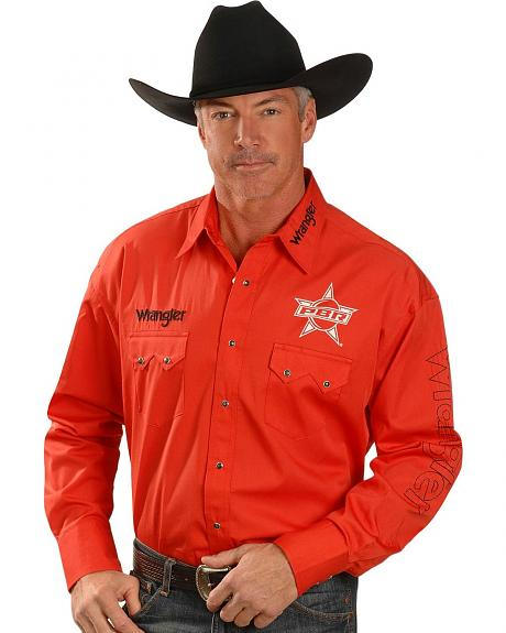 Wrangler PBR Logo Solid Red Long Sleeve Shirt