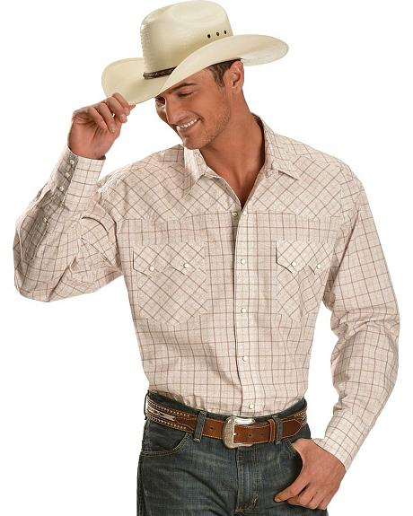 Roper Tan Paisley & Plaid Western Shirt