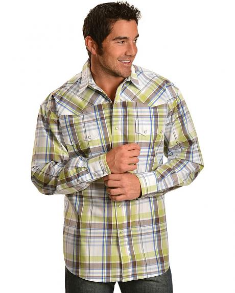 Roper Spring Meadow Plaid Long Sleeve Western Shirt
