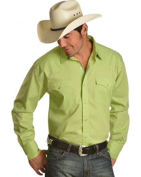 Roper Spring Meadow Solid Green Long Sleeve Western Shirt
