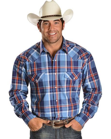 Roper Orange Plaid Snap Western Shirt