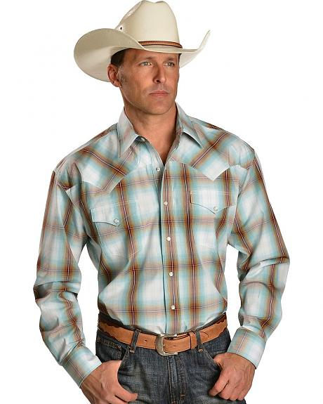 Stetson Blue Plaid Snap Western Shirt