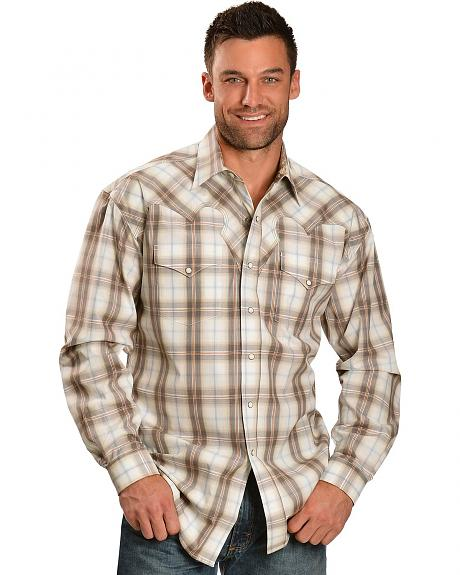 Stetson Tan Plaid Snap Western Shirt