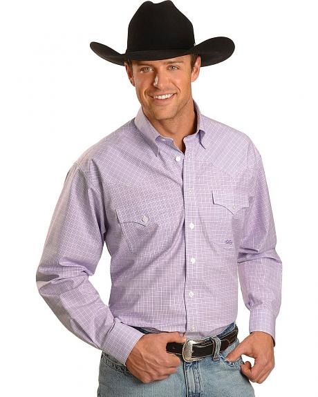Miller Ranch Purple Check Long Sleeve Western Shirt