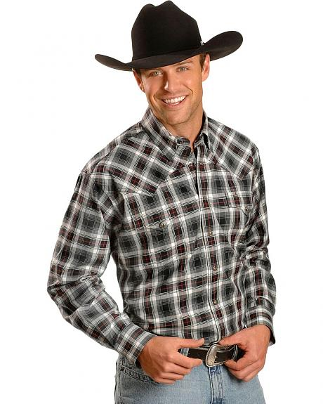 Miller Ranch Fine Line Twill Plaid Long Sleeve Western Shirt