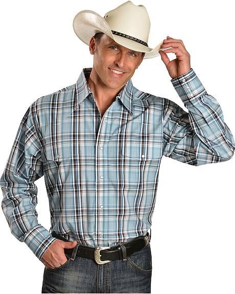Wrangler Wrinkle Resistant Blue & Black Plaid Shirt