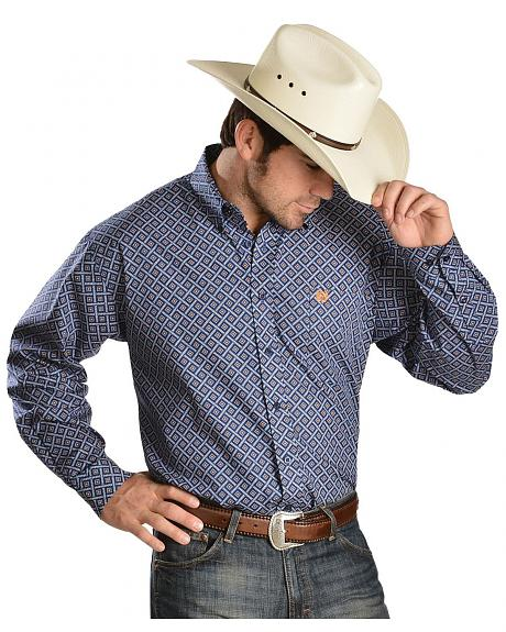 Cinch � Blue & Orange Diamond Print Shirt