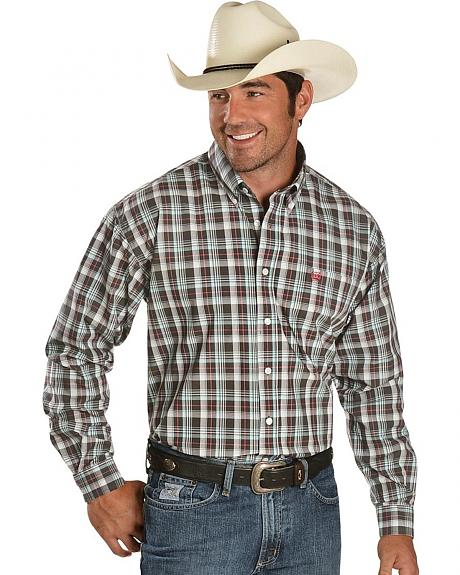Cinch � Charcoal & Cranberry Plaid Shirt