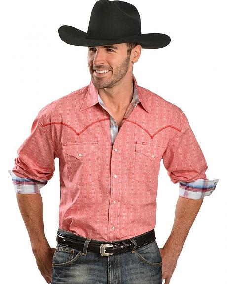 Stetson Red Print with Overlock Stitched Western Yokes Shirt