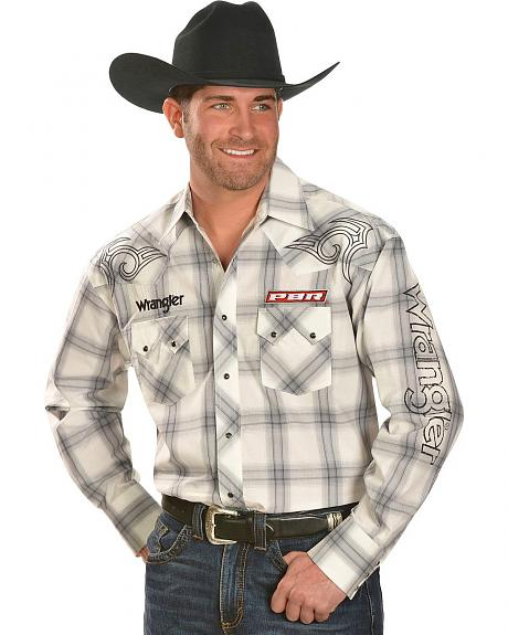 Wrangler PBR Logo Plaid Long Sleeve Shirt